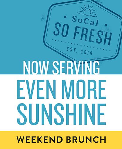 Now serving even more sunshine! Weekend brunch.